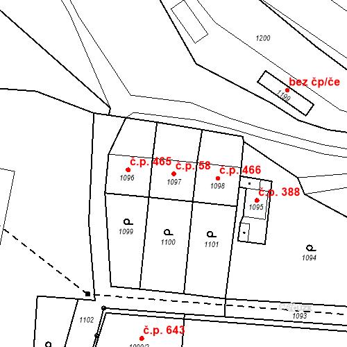Katastrální mapa Stavební objekt Drahovice 58, Karlovy Vary