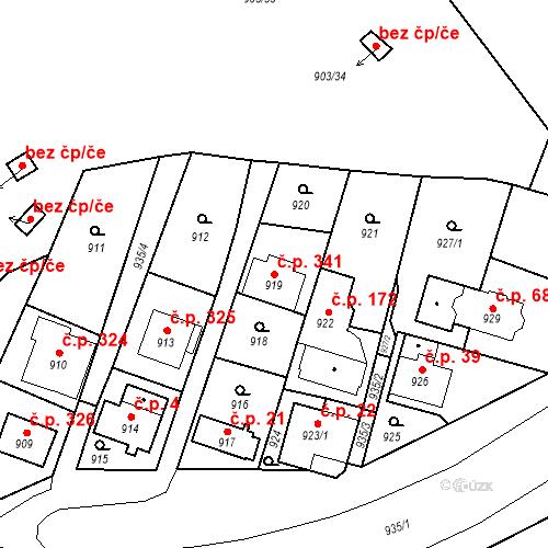 Katastrální mapa Stavební objekt Drahovice 341, Karlovy Vary