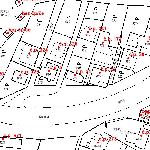 Katastrální mapa Stavební objekt Drahovice 21, Karlovy Vary