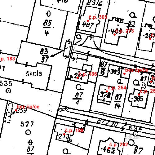 Katastrální mapa Stavební objekt Bezdružice 186, Bezdružice