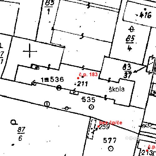 Katastrální mapa Stavební objekt Bezdružice 183, Bezdružice