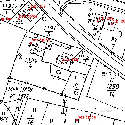 Katastrální mapa Stavební objekt Bezdružice 185, Bezdružice