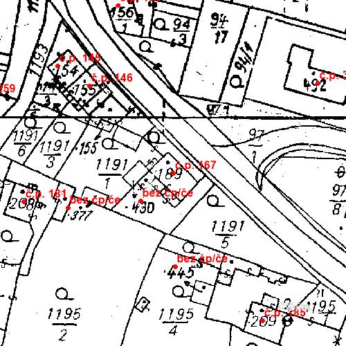 Katastrální mapa Stavební objekt Bezdružice 167, Bezdružice