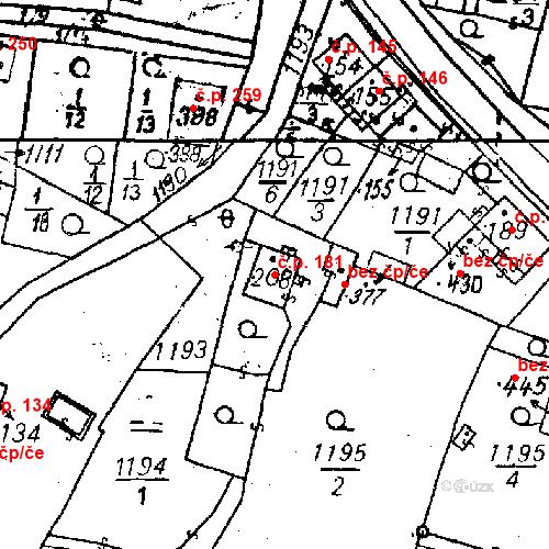 Katastrální mapa Stavební objekt Bezdružice 181, Bezdružice