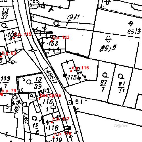 Katastrální mapa Stavební objekt Bezdružice 116, Bezdružice