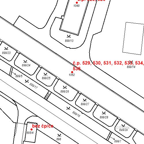 Katastrální mapa Stavební objekt Drahovice 529, 530, 531, 532, 533, Karlovy Vary