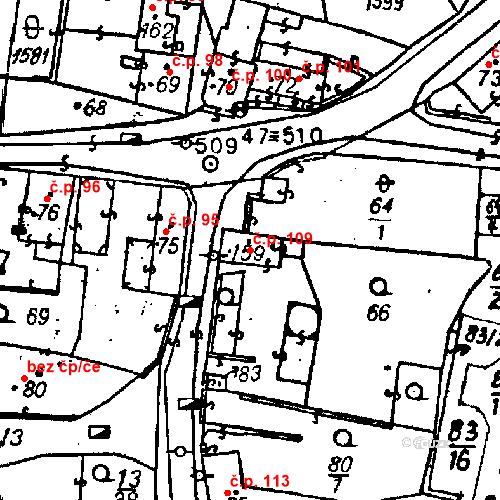 Katastrální mapa Stavební objekt Bezdružice 109, Bezdružice