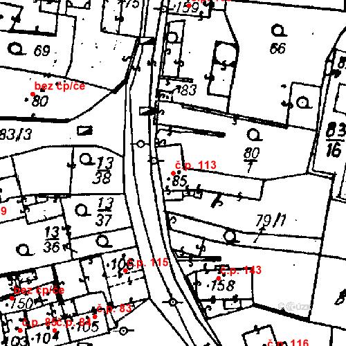 Katastrální mapa Stavební objekt Bezdružice 113, Bezdružice