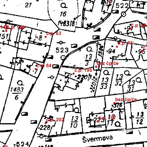 Katastrální mapa Stavební objekt Bezdružice 195, Bezdružice