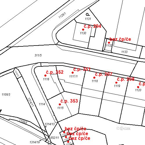 Katastrální mapa Stavební objekt Drahovice 351, Karlovy Vary