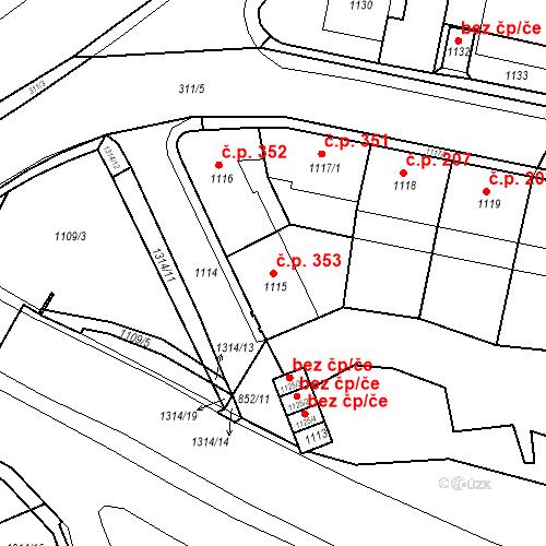 Katastrální mapa Stavební objekt Drahovice 353, Karlovy Vary