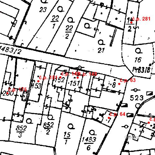 Katastrální mapa Stavební objekt Bezdružice 148, Bezdružice