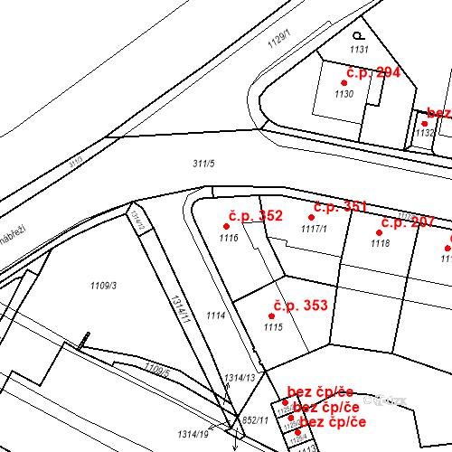Katastrální mapa Stavební objekt Drahovice 352, Karlovy Vary