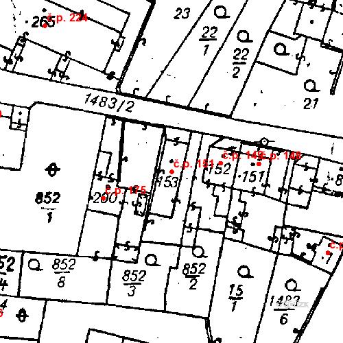 Katastrální mapa Stavební objekt Bezdružice 151, Bezdružice