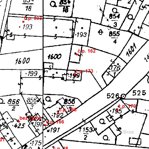 Katastrální mapa Stavební objekt Bezdružice 173, Bezdružice