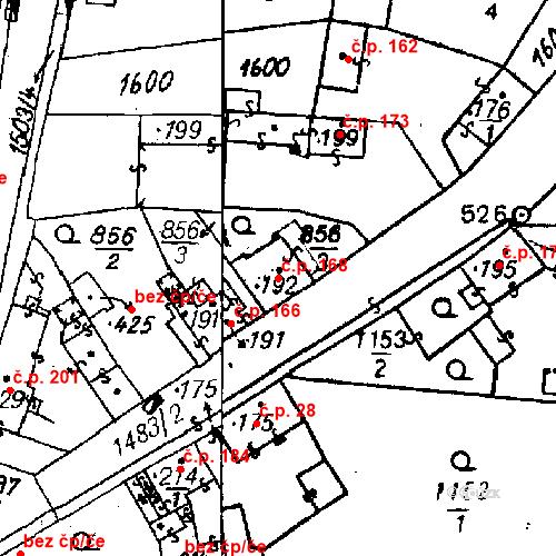 Katastrální mapa Stavební objekt Bezdružice 168, Bezdružice