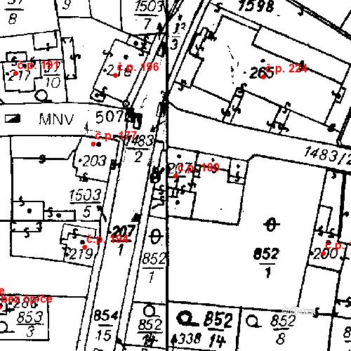 Katastrální mapa Stavební objekt Bezdružice 180, Bezdružice