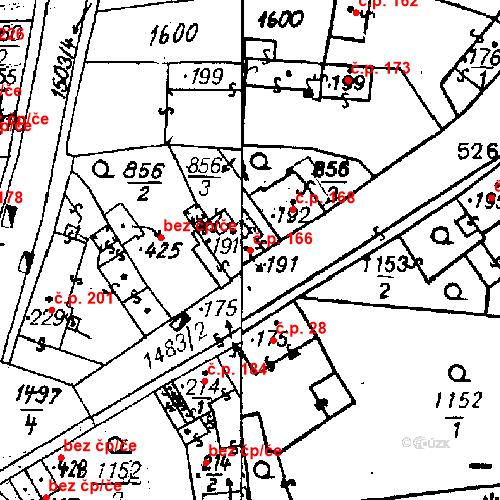 Katastrální mapa Stavební objekt Bezdružice 166, Bezdružice