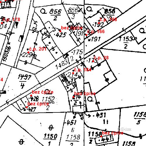 Katastrální mapa Stavební objekt Bezdružice 184, Bezdružice