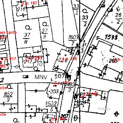Katastrální mapa Stavební objekt Bezdružice 196, Bezdružice
