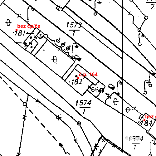 Katastrální mapa Stavební objekt Bezdružice 164, Bezdružice