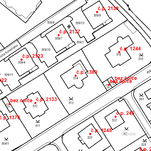 Katastrální mapa Stavební objekt Karlovy Vary 1389, Karlovy Vary