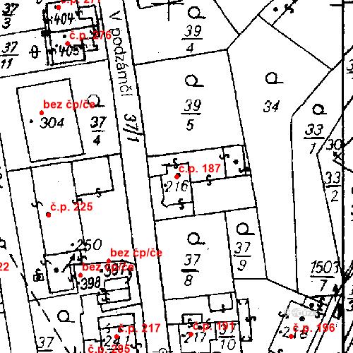 Katastrální mapa Stavební objekt Bezdružice 187, Bezdružice