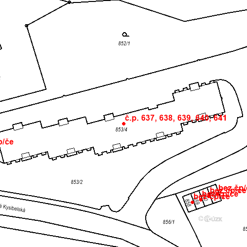 Katastrální mapa Stavební objekt Drahovice 637, 638, 639, 640, 641, Karlovy Vary