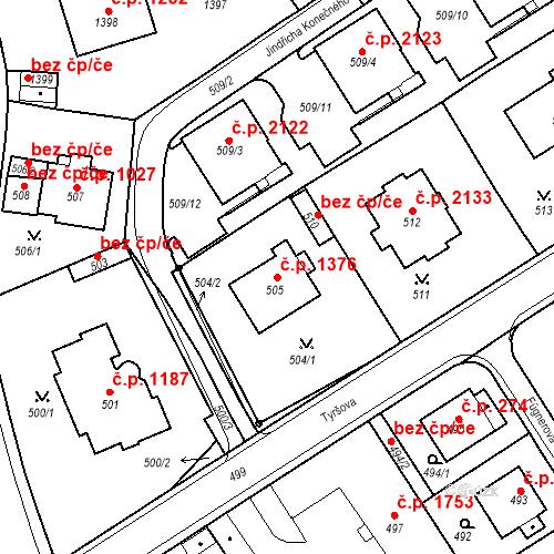 Katastrální mapa Stavební objekt Karlovy Vary 1376, Karlovy Vary