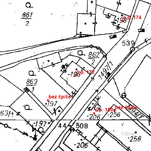 Katastrální mapa Stavební objekt Bezdružice 172, Bezdružice