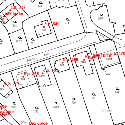 Katastrální mapa Stavební objekt Drahovice 409, Karlovy Vary