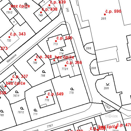 Katastrální mapa Stavební objekt Drahovice 366, Karlovy Vary