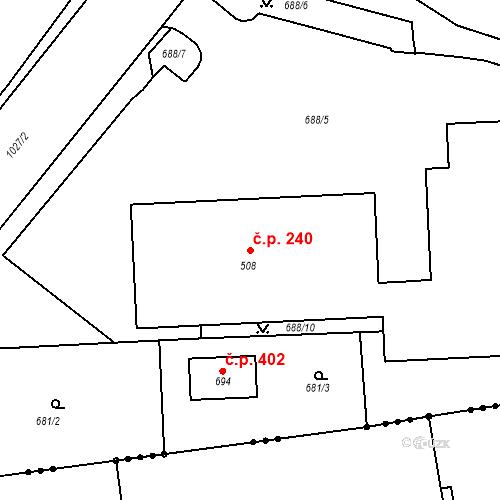 Katastrální mapa Stavební objekt Otovice 240, Otovice