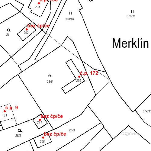 Katastrální mapa Stavební objekt Merklín 172, Merklín