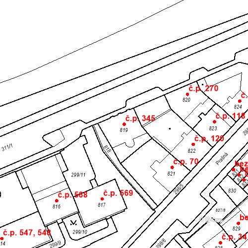 Katastrální mapa Stavební objekt Drahovice 345, Karlovy Vary