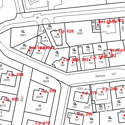 Katastrální mapa Stavební objekt Drahovice 357, Karlovy Vary