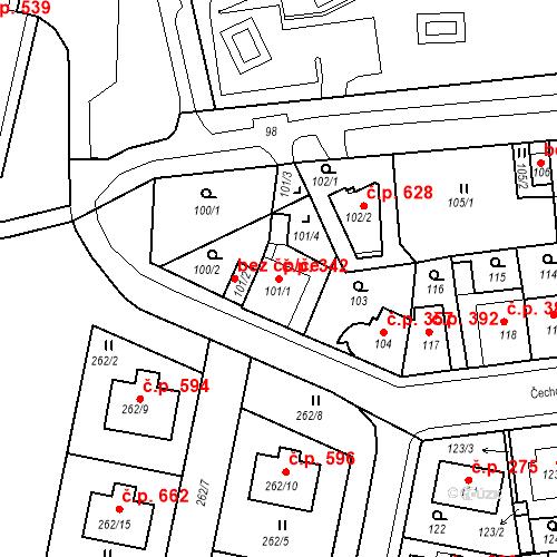 Katastrální mapa Stavební objekt Drahovice 342, Karlovy Vary