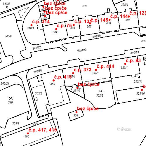 Katastrální mapa Stavební objekt Drahovice 373, Karlovy Vary