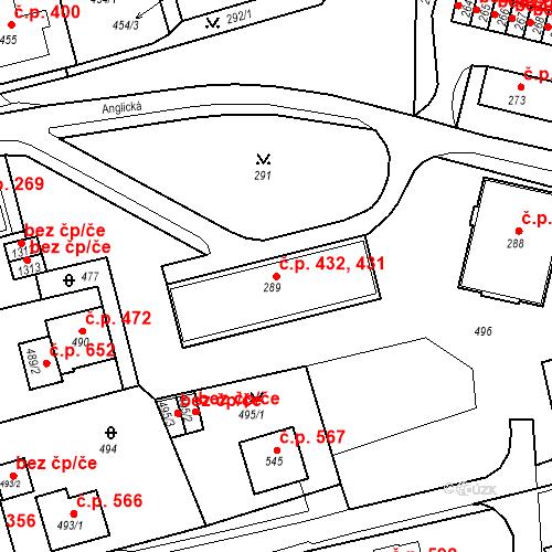 Katastrální mapa Stavební objekt Drahovice 431, 432, Karlovy Vary