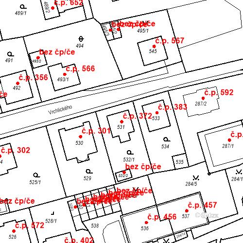 Katastrální mapa Stavební objekt Drahovice 372, Karlovy Vary