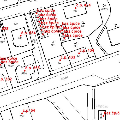 Katastrální mapa Stavební objekt Drahovice 433, Karlovy Vary