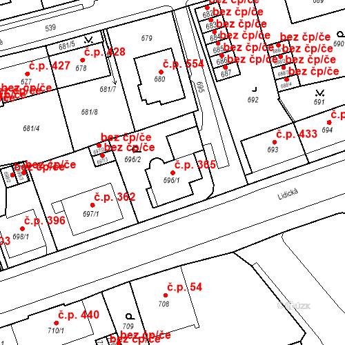 Katastrální mapa Stavební objekt Drahovice 365, Karlovy Vary