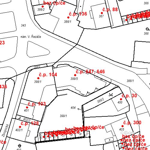 Katastrální mapa Stavební objekt Drahovice 646, 647, Karlovy Vary