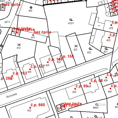 Katastrální mapa Stavební objekt Drahovice 158, Karlovy Vary