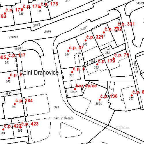 Katastrální mapa Stavební objekt Drahovice 5, Karlovy Vary