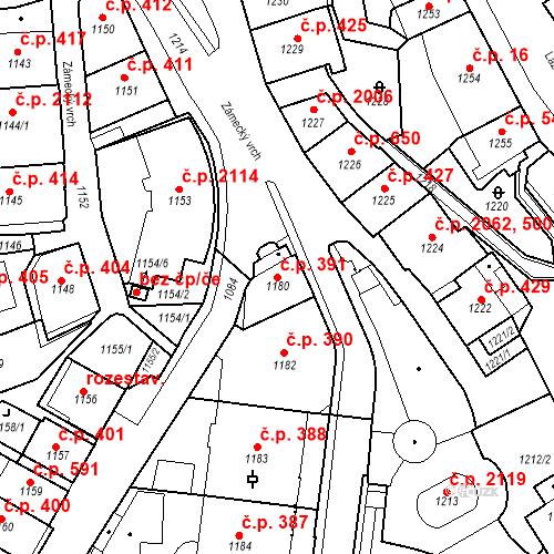 Katastrální mapa Stavební objekt Karlovy Vary 391, Karlovy Vary