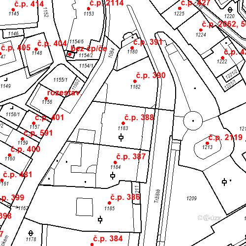 Katastrální mapa Stavební objekt Karlovy Vary 388, Karlovy Vary