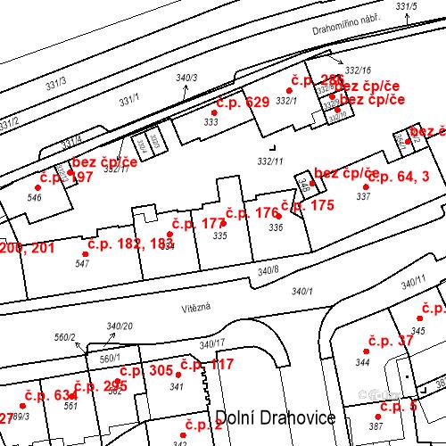 Katastrální mapa Stavební objekt Drahovice 176, Karlovy Vary