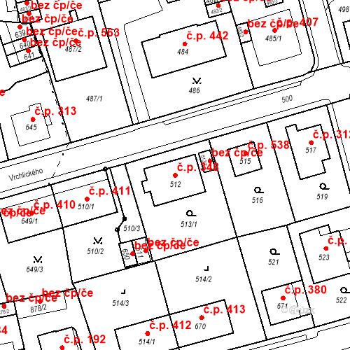 Katastrální mapa Stavební objekt Drahovice 348, Karlovy Vary