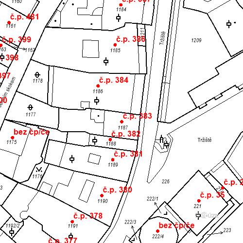 Katastrální mapa Stavební objekt Karlovy Vary 383, Karlovy Vary